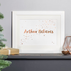 Personalised Copper Foiled I Believe Christmas Print