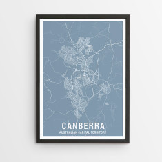 Canberra map print (various colours)