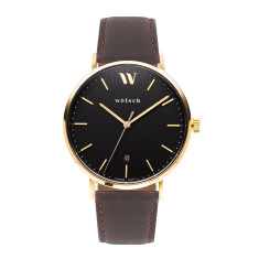Versa 40 Watch In Gold with Brown Band
