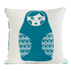 Babushka Doll Kids Cushion in Teal