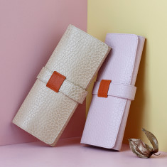 Soft Leather Textured Gloss Jewellery Roll for Travel