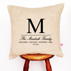 Family initial personalised cushion cover