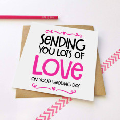 Sending love wedding card