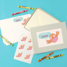 Personalised owl notecards writing set
