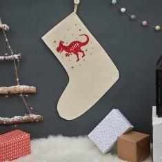 Personalised Christmas T Rex Stocking