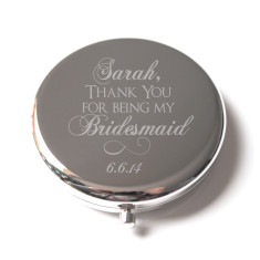 Personalised  Bridesmaid engraved compact mirror in silver