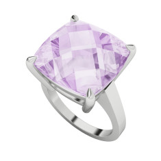 Pink Amethyst Sterling Silver Cocktail Ring