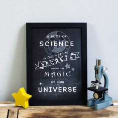 Chalkboard science behind the magic print