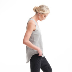 Scoop Back Singlet in Grey Marle