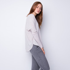 Batwing loose fit cashmere pullover in fog grey