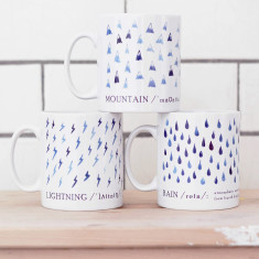 Watercolour blue definition mugs