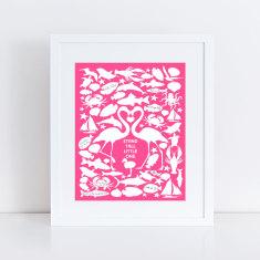 Flamingo personalised signature guest book