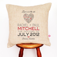 Script heart personalised linen cushion cover