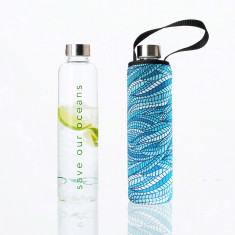 Glass is greener bottle 750 ml with carry cover in sealeaf print