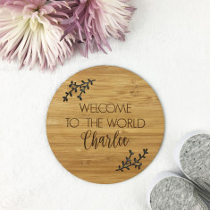 Welcome To The World Personalised Bamboo Plaque