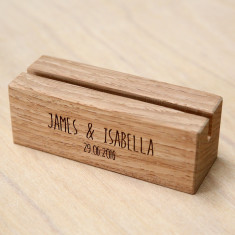 Solid Timber Wedding Menu Holders - Names and Date