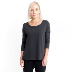 Three Quarter Sleeve Tailed Tee in Charcoal