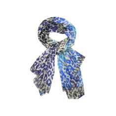 My Softest Cotton Scarf: Blue Leopard Print