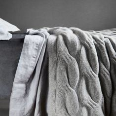 Angora & wool chunky cable throw