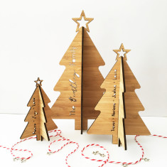 Personalised 3D Christmas Trees - set of 3