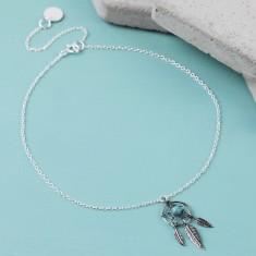 Sterling Silver and Turquoise Dreamcatcher Anklet