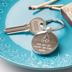 Personalised Set My Heart On Fire Keyring