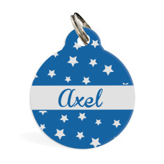 Personalised pet ID tag standard (Blue Stars)