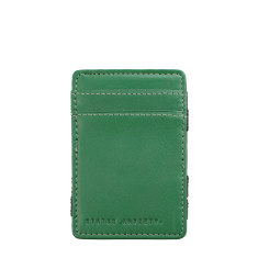 Flip leather wallet in green