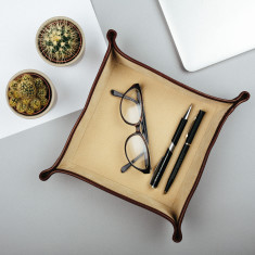 The Ilario Italian Leather Desk Tidy/Coin Tray