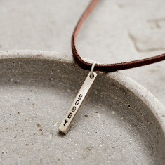 Personalised Men's Silver Bar Necklace On Leather Cord