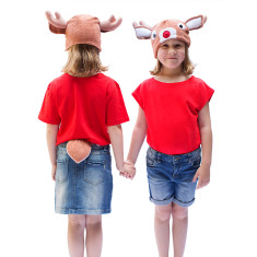 Red-nosed reindeer hat & tail set for kids