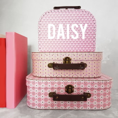 Personalised Daisy Flower Suitcase Storage Box Trio
