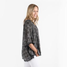 Seychelles pom pom top in black