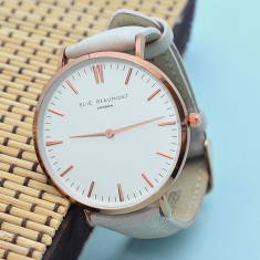 Personalised Leather Elie Beaumont Watch in Stone