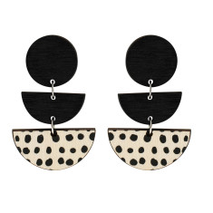 Three tiered spot earrings in black