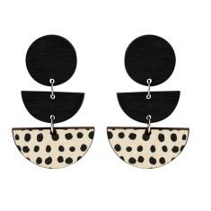 Three tiered spot earrings in black