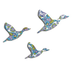 Trio of flying ducks in retro blue