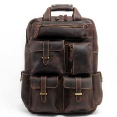 Leather weekender bag backpack in vintage brown