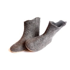 Women's grey valenki slipper boots with cork soles