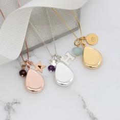 Personalised Teardrop Locket Necklace with Birthstones