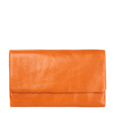 Audrey leather wallet in orange