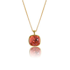 Padparadcha & Yellow Gold Vermeil Cushion Pendant