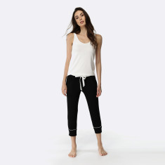Manor Cropped Pant & Tank Set Black / Ivory