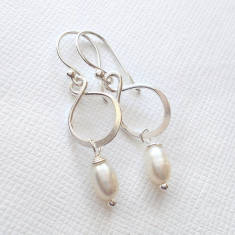Sterling Silver Infinity Pearl Earrings