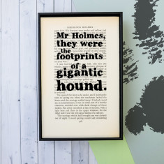 Sherlock Holmes dog lover quote - book page print