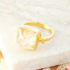 Candy Rawa Ring In Gold Plate With Green Amethyst