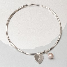 Sienna Personalised Heart And Pearl Bangle