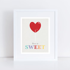 Love is sweet lolly pop art print