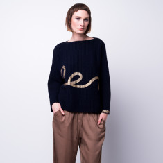 Metallic print chunky ribbed pullover