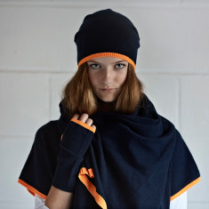 Cashmere Navy/Neon Orange Oversized Scarf